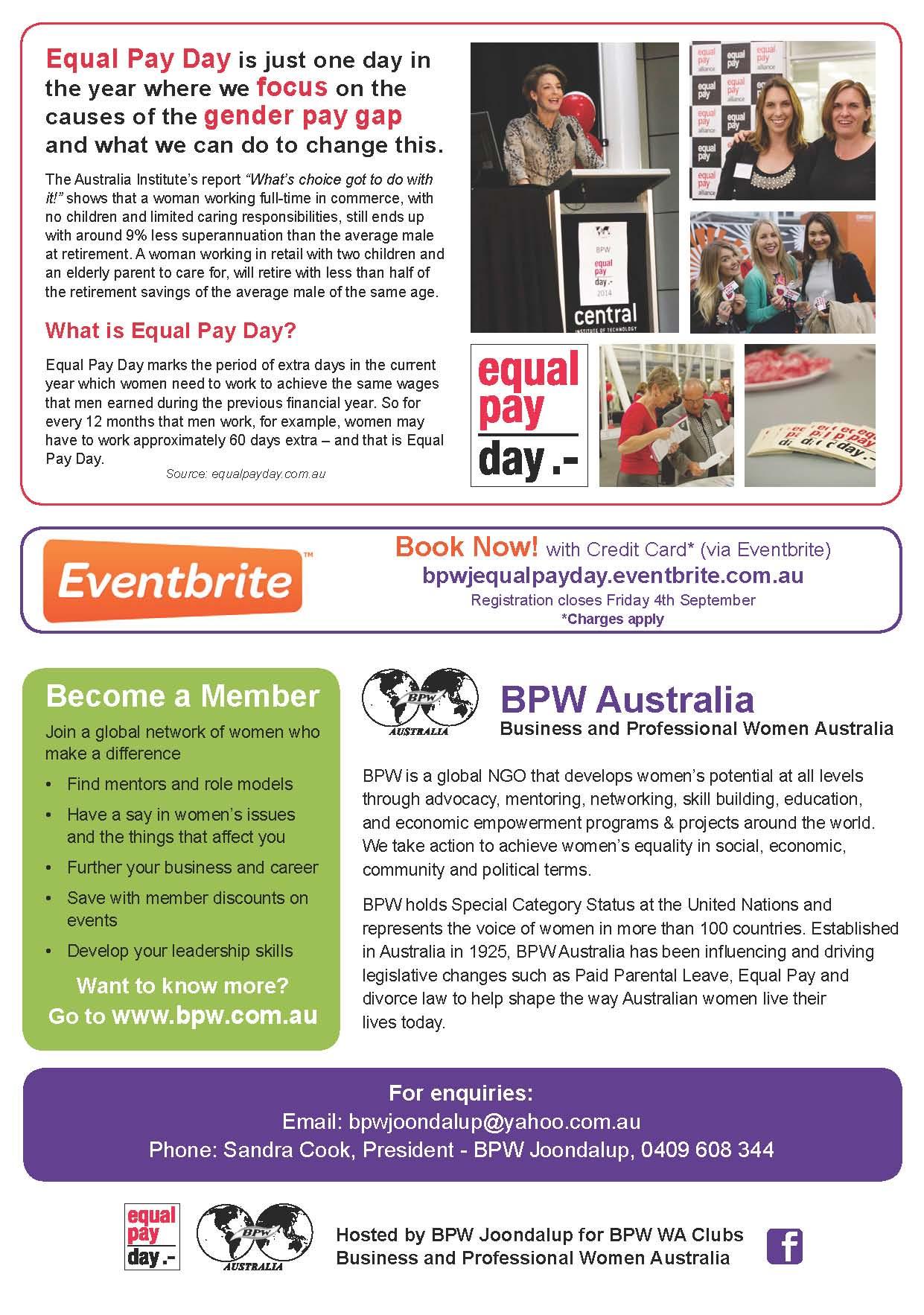 BPW Australia - Equal Pay Day WA