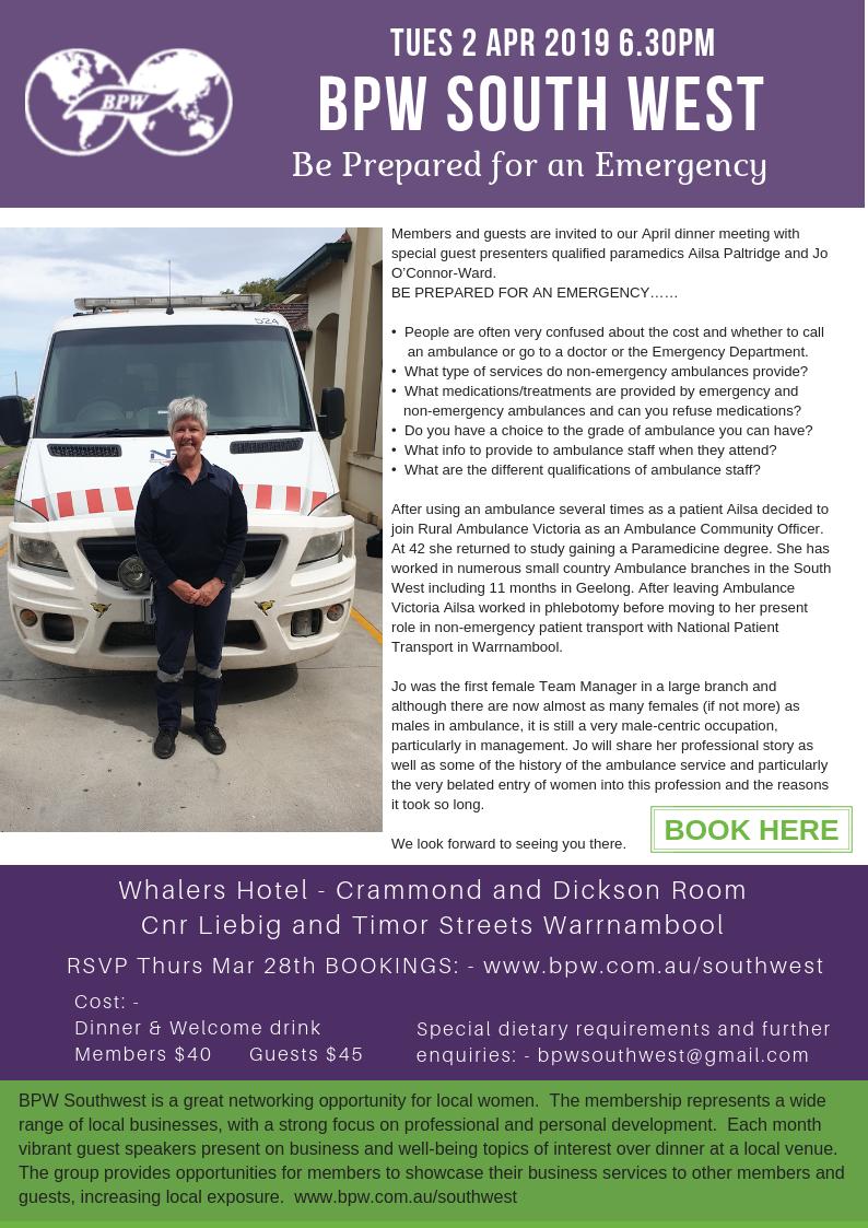 BPW Australia - BPW South West Dinner April 2019